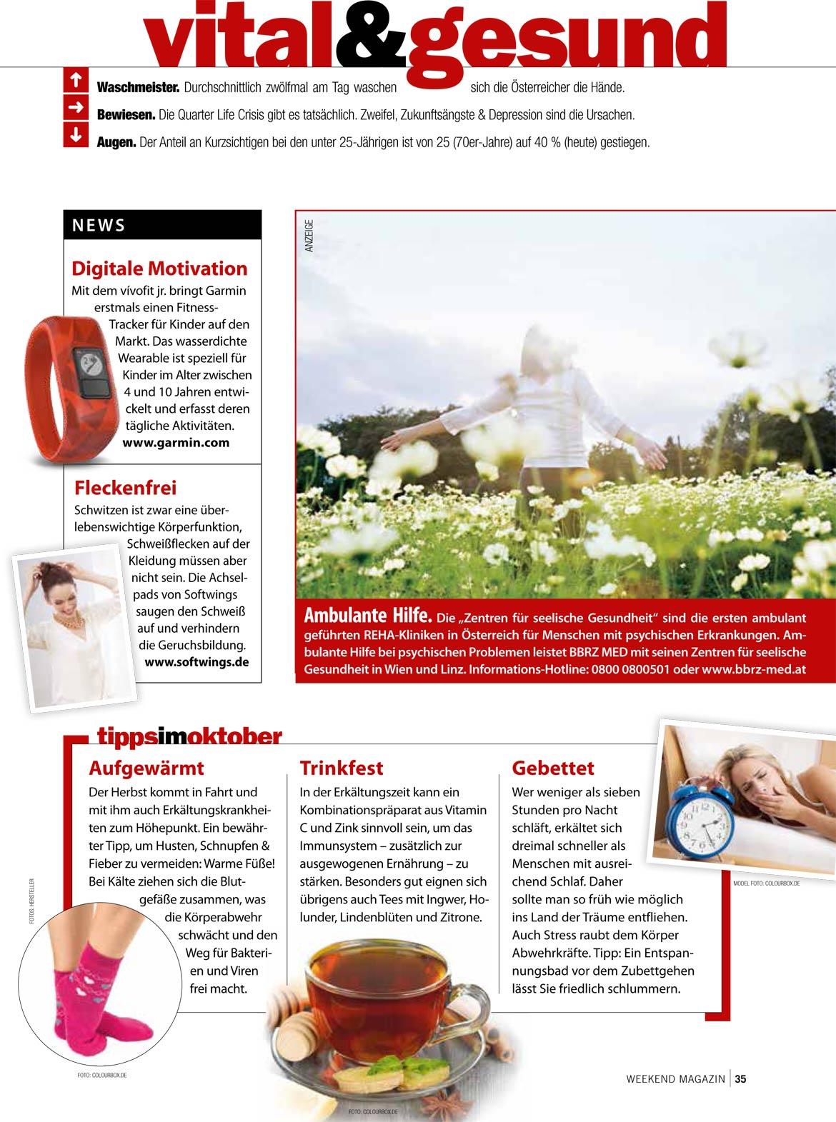 Artikel über Achselpads in vital und gesund